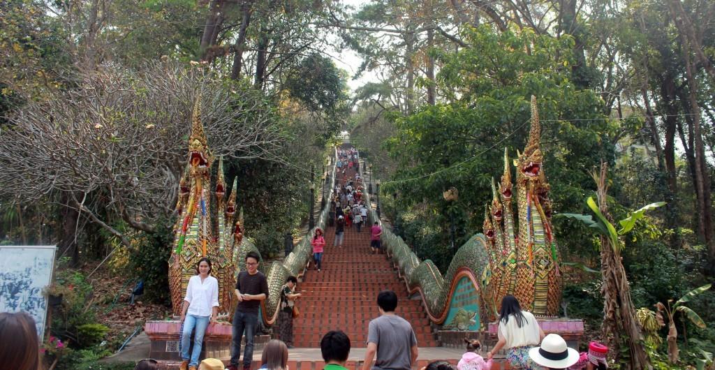 Naga stairway at Doi Suthep temple.