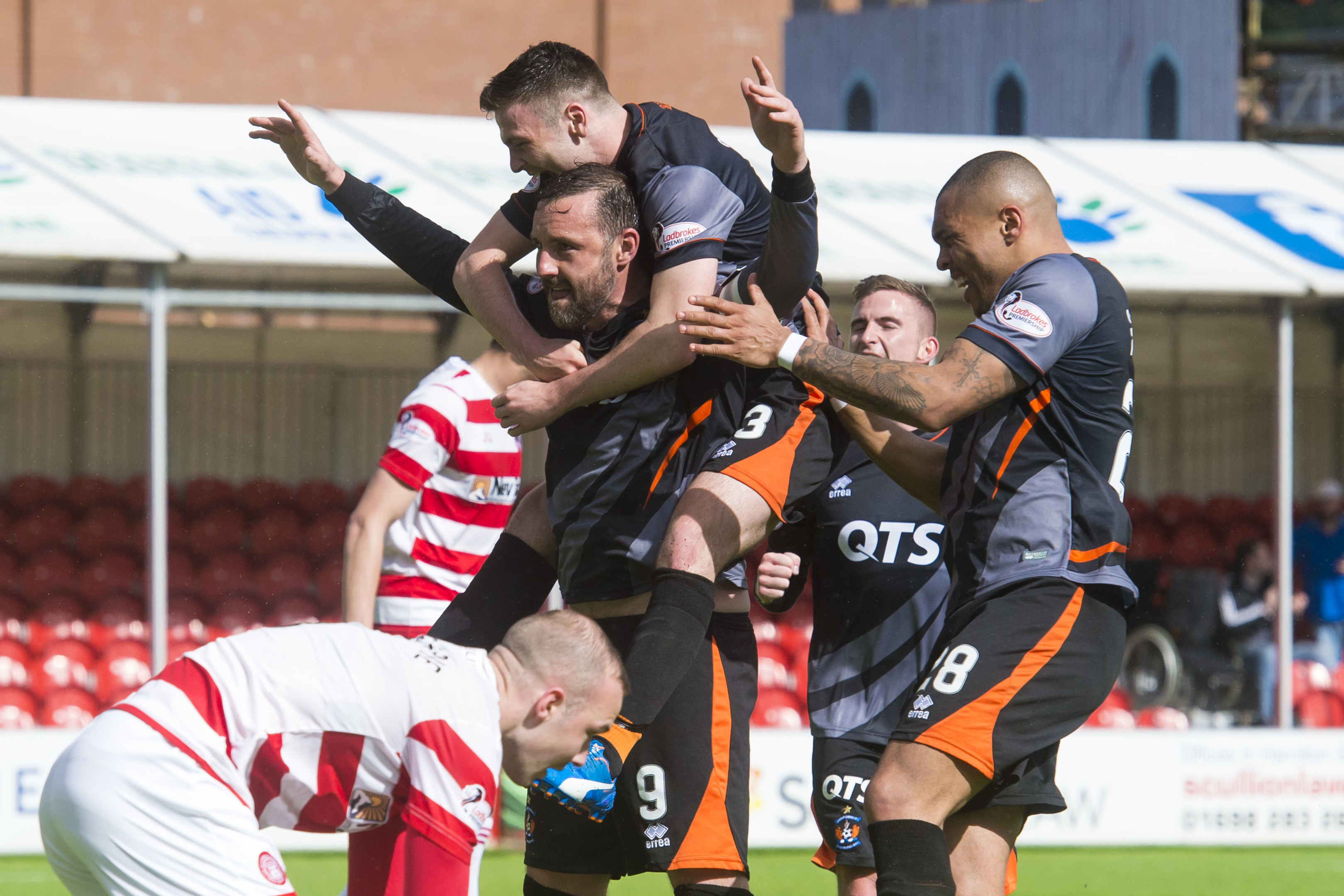 Kris Boyd celebrates putting Killie 3-0 up.
