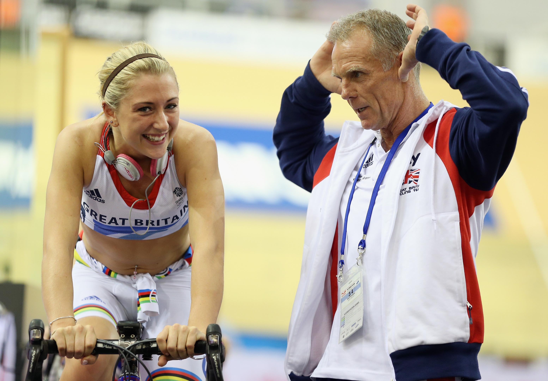 Shane Sutton with Laura Trott.