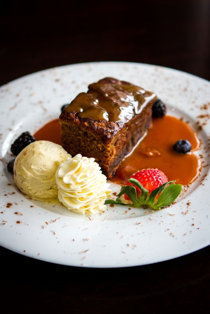 The Alyth Hotel's homemade sticky toffee pudding.