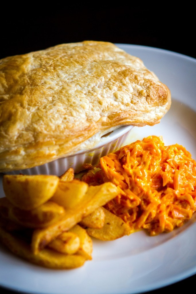 The Alyth Hotel's steak pie served with homemade chunky chips and creamed carrots.