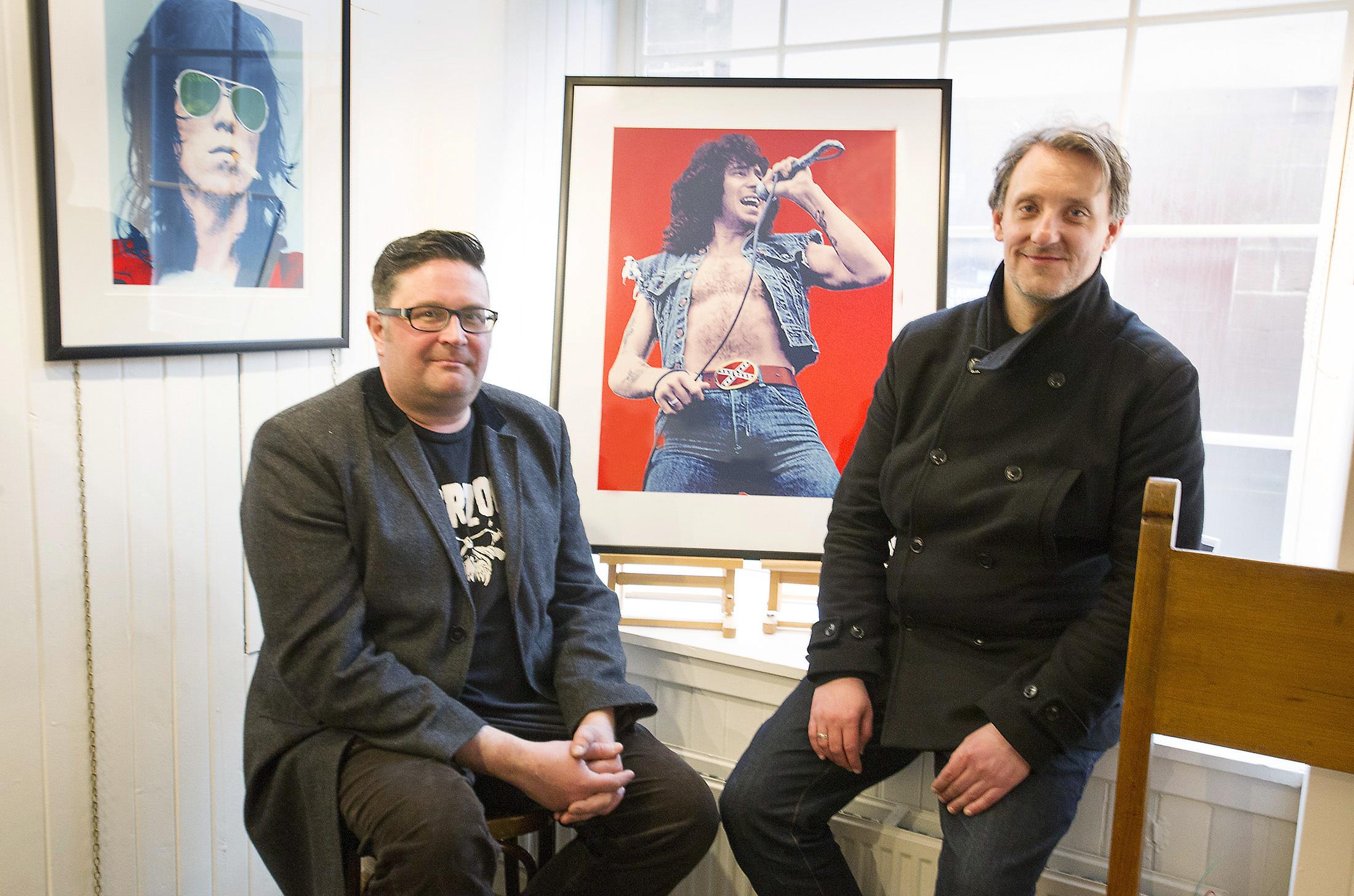 DD8 Music's Graham Galloway with Robert McSpadyen and his Bon Scott image.