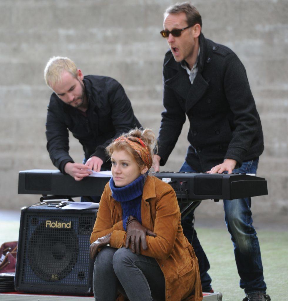 Joseph Brown, Emily Byrt and musical director Jonathan Gill.