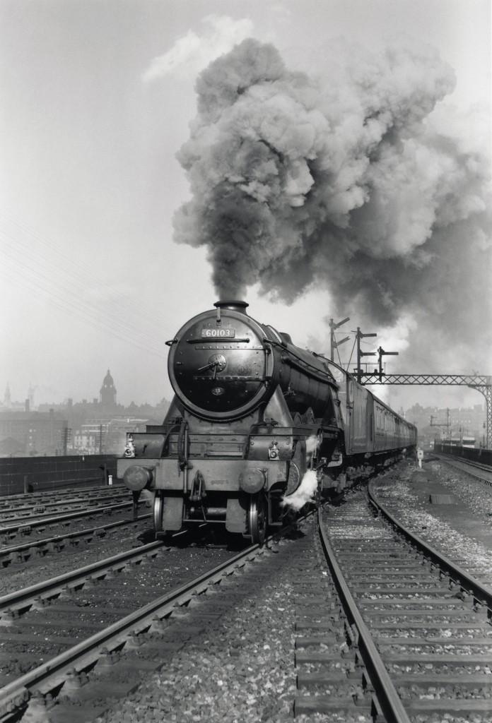 4 - 'Flying Scotsman' A3 Class steam locomotive leaving Leeds station, 1956. (NRM)