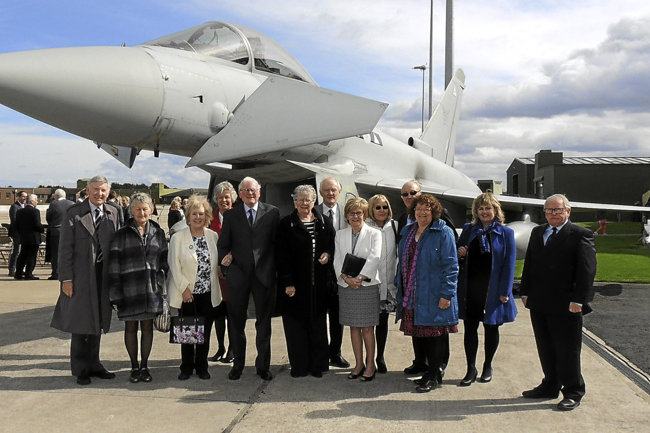 The Heritage Centre party with one of the squadron Typhoon aircraft.