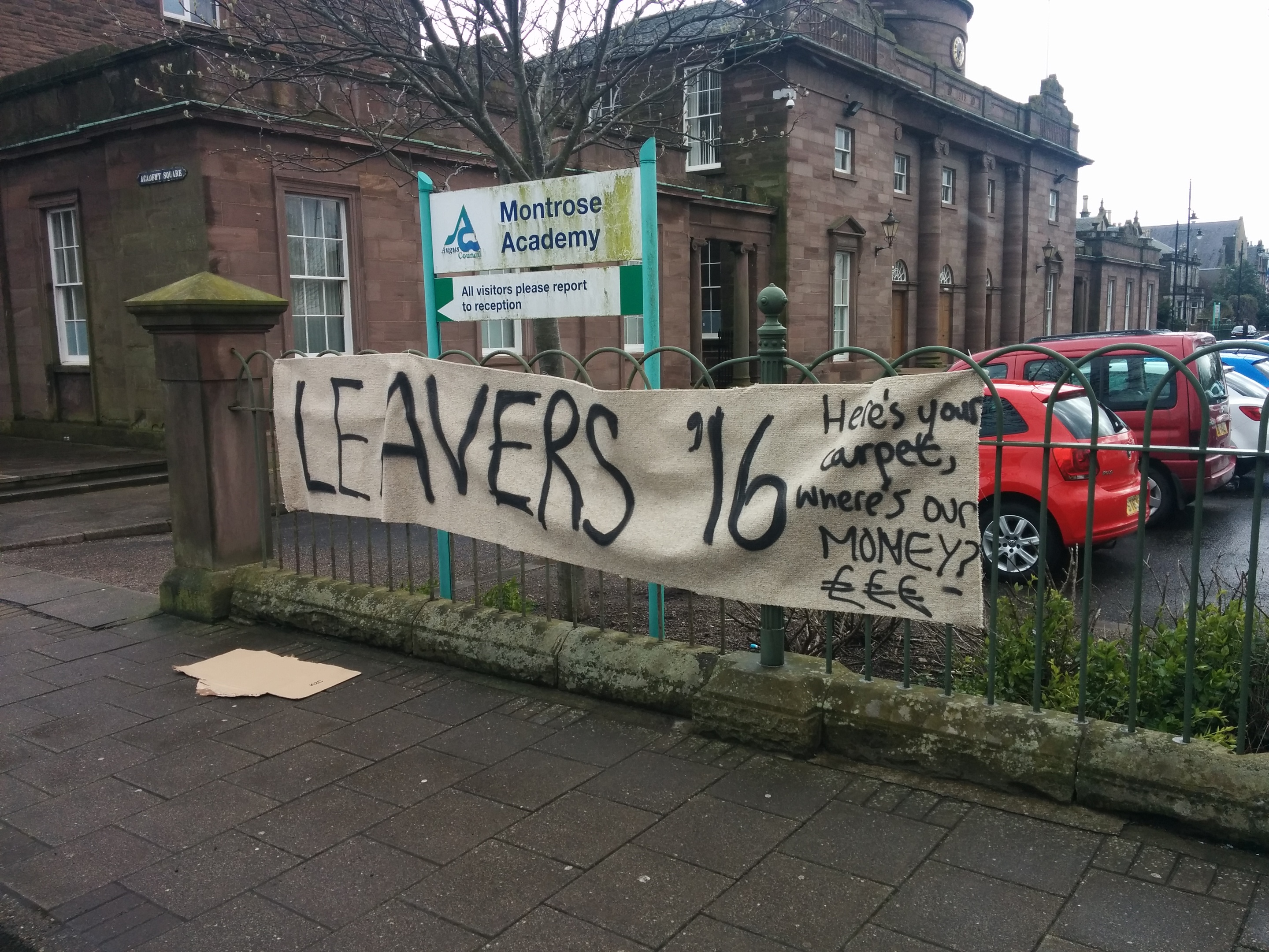A banner at the protest at Montrose Academy.