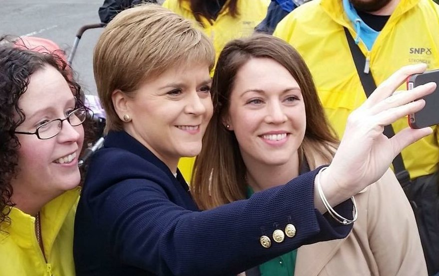 Nicola Sturgeon in selfie mode campaigning in Fife alongside Mid Fife and Glenrothes MSP, Jenny Gilruth
