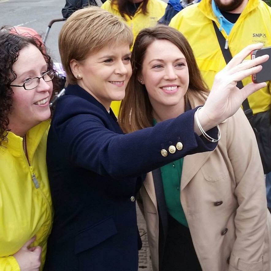 Jenny Gilruth poses for a selfie with Nicola Sturgeon