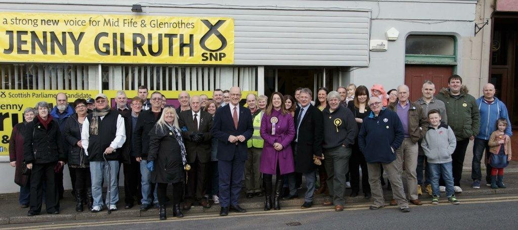 Jenny Gilruth with her campaign team and supporters