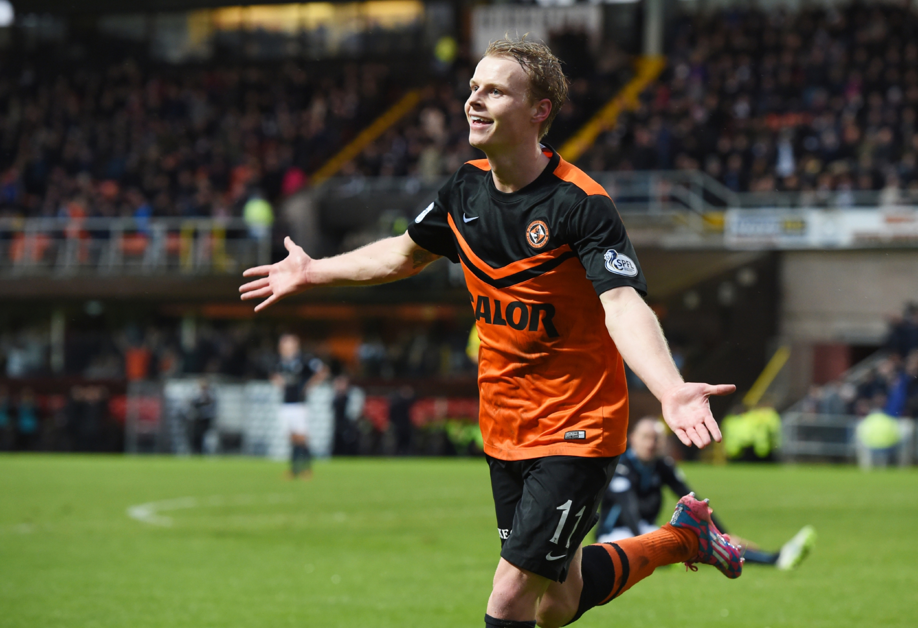 United's Gary Mackay-Steven celebrates his second goal in the 6-2 win.
