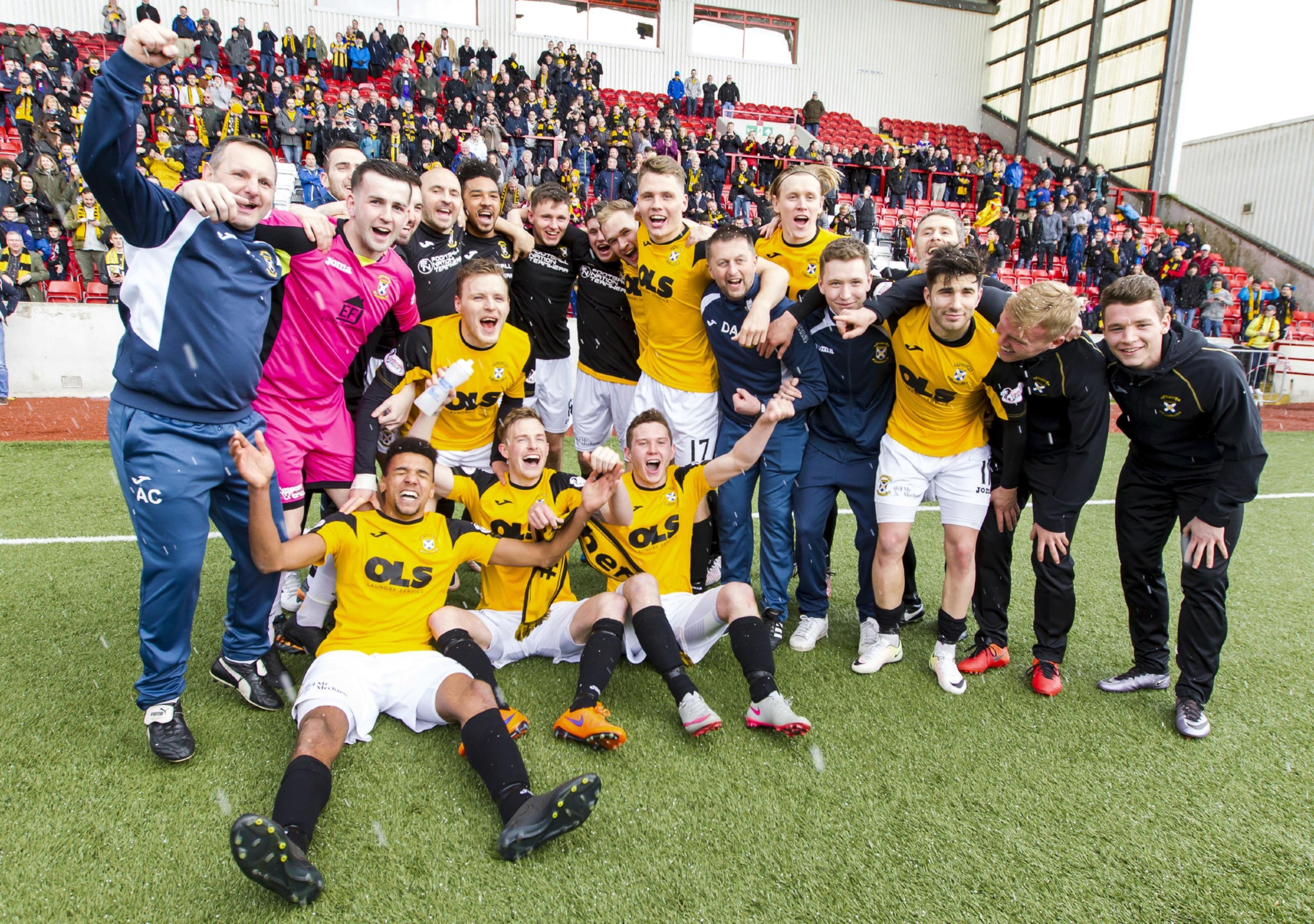 East Fife celebrate at full-time.