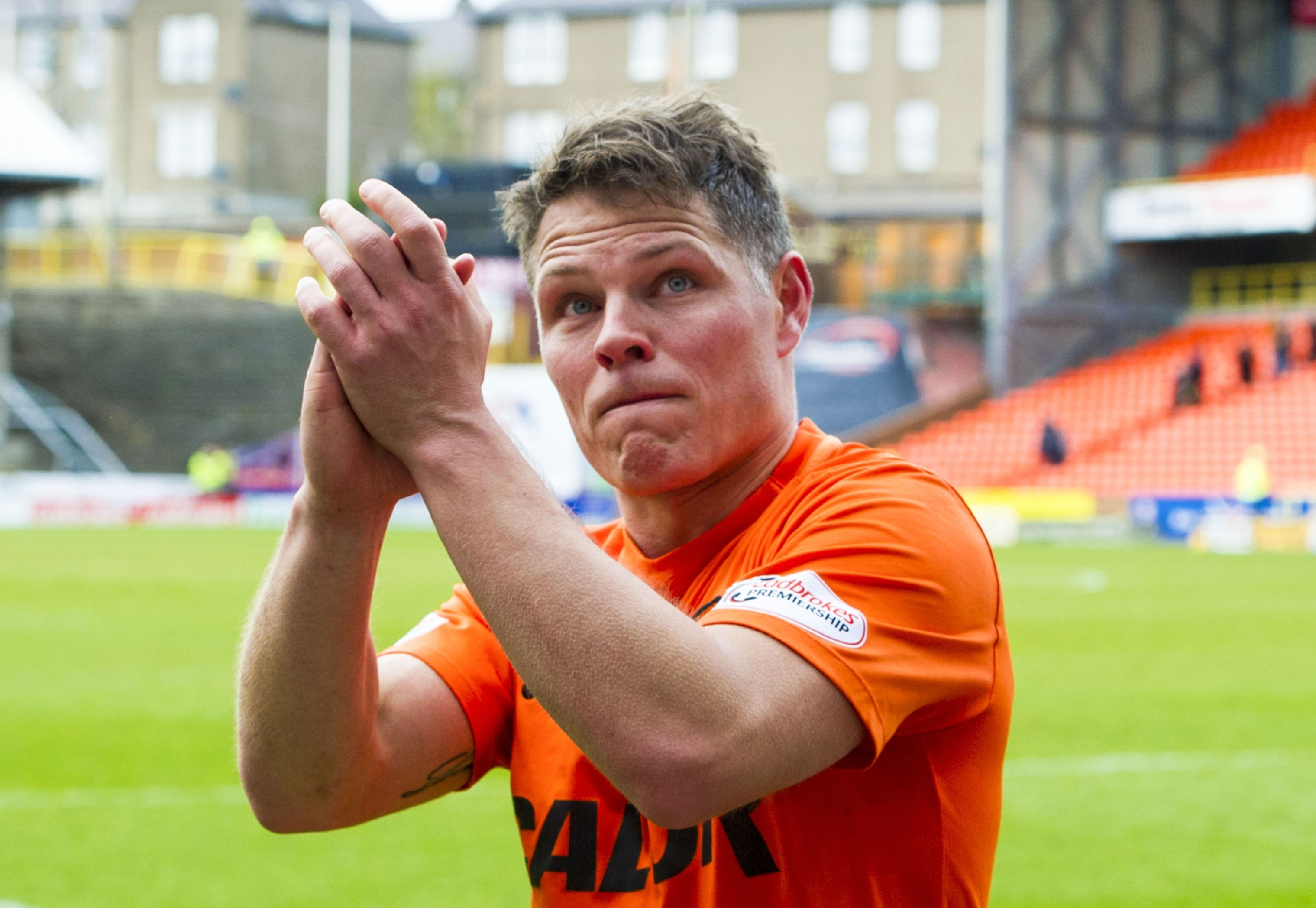 John Rankin shows his appreciation for the United fans.