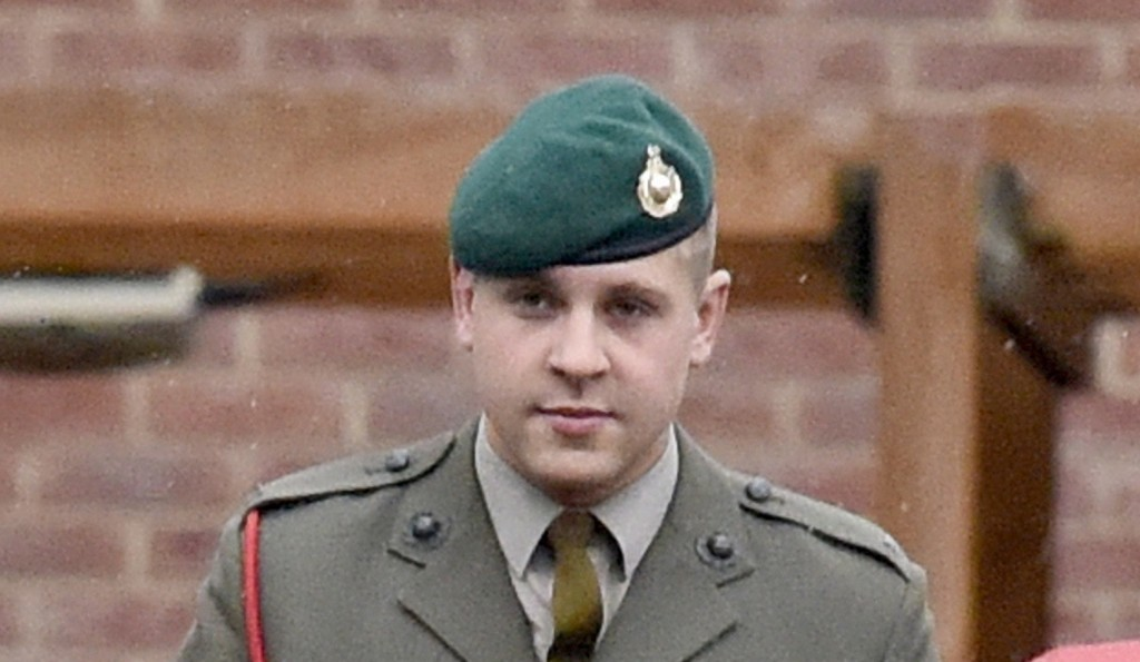 "Pictured: Defendant Marine Ian Tennet at Portsmouth Court Martial. A Marine accused of ill-treating a subordinate during an alleged initiation ceremony today told a court martial he did feed new recruits chilli and cinnammon powder - but only in a bid to help them win a drinking game. Marine Ian Tennet, 32, said he only arrived at the quadrangle, where the event he called a 'joining run' was taking place, after it had started. Marine Tennet, a lance corporal at the time, said he played a 'sober, supervisory' role, was simply there as a ""helping hand"" to ""his lads"" and was not one of the organisers of the event. The 32-year-old, of South Shields, allegedly ill-treated subordinate Carlo Nicholson, who joined the 45 Commando, based in Royal Marine Condor, in Arbroath, Scotland, in November 2013. SEE OUR COPY FOR DETAILS. © Solent News & Photo Agency UK +44 (0) 2380 458800"