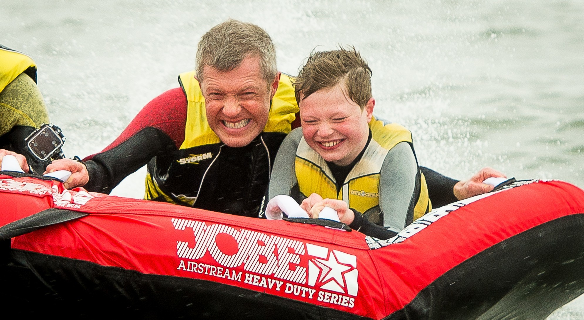 Willie Rennie all at sea in Elie Harbour with son Stephen