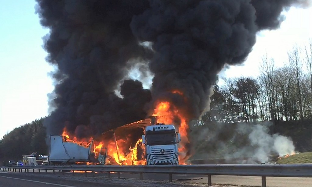 The fire broke out on the A92 in Fife.