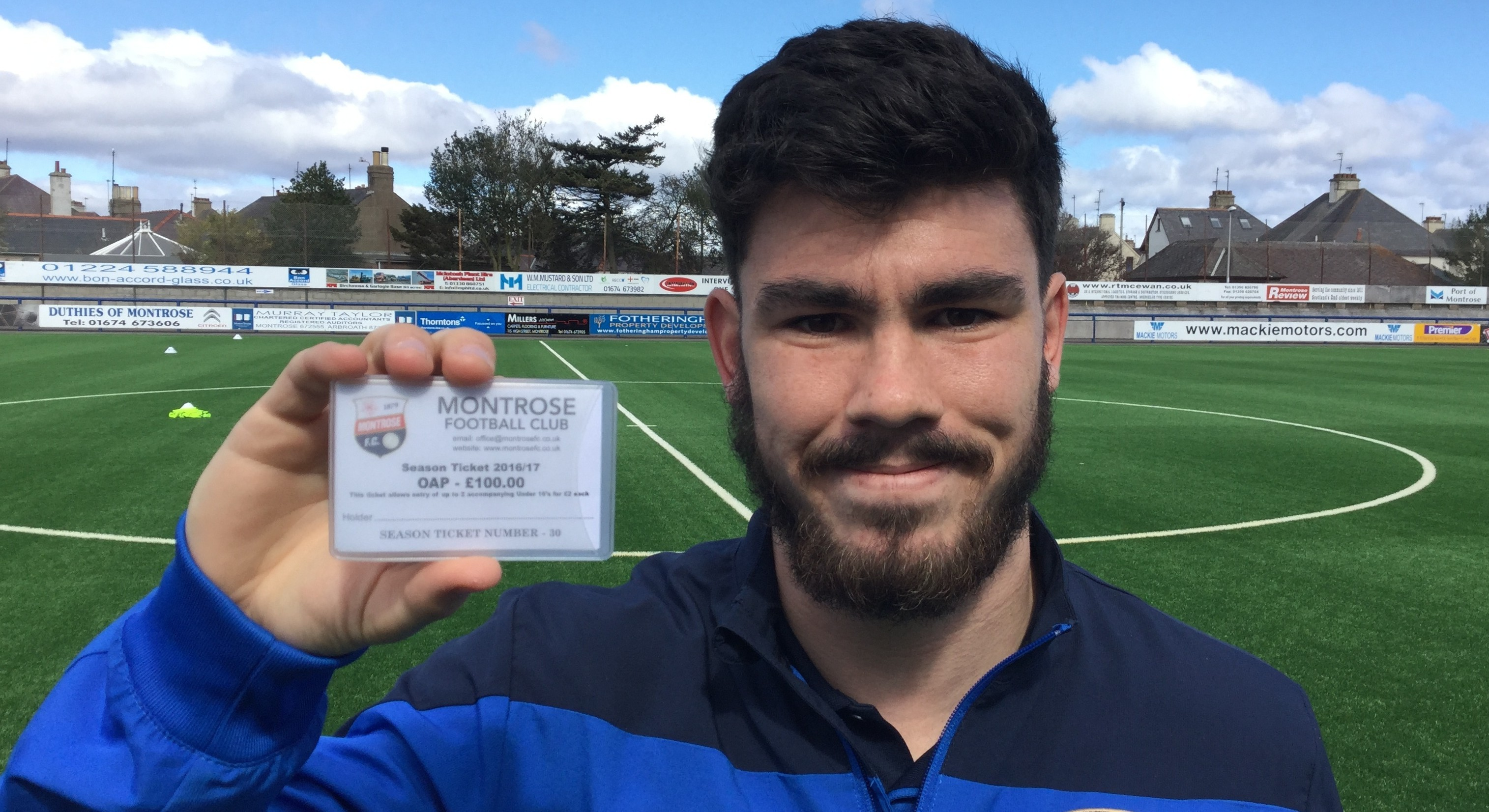 Montrose player Andrew Steeves with the new season ticket.