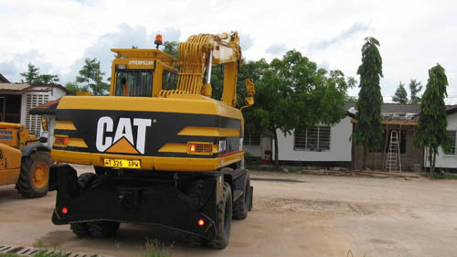 The plant in Dar es Salaam in Tanzania where the pair were running a plant hire firm.