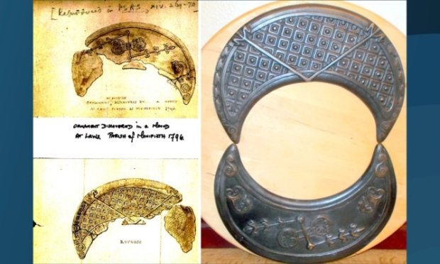 The drawing of the crescent, discovered at Laws Farm, Monifieth, in 1796, and its bronze replica.