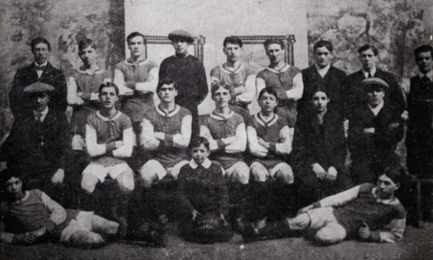 A Fife archives photo of Denbeath footballers who went off to war in 1914.