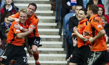 Johnny Russell (left) and Craig Conway (second from right) during their time together with Dundee United.