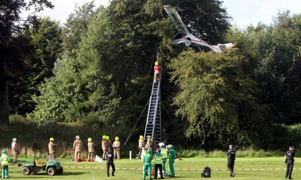 Caird Park Golf Course, Dundee.    Site of Light Aircraft crash.    Scenes from the crash site.