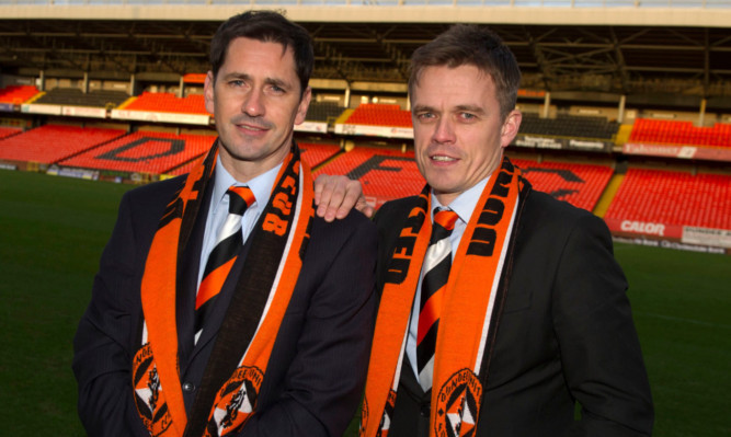 Jackie McNamara and Simon Donnelly after joining United in January.