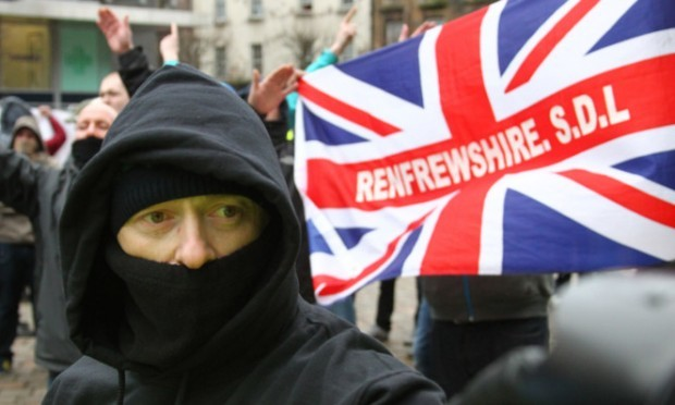 A total of 57 religiously aggravated offences against Islam were recorded at rival demonstrations between the Campaign to Welcome Refugees and the Scottish Defence League in Glasgow.