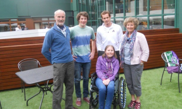 Esme was accompanied on her trip to meet Andy Murray by her mother Anne, brother Calum and Annes husband, Dave.