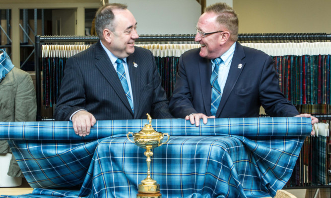 Alex Salmond launches the Ryder Cup tartan with European Ryder Cup director Richard Hills.