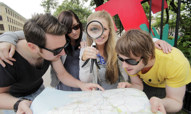 From left: Craig Johnston, Karen Ritchie, Eilidh Buchanan and Kristofer Rae kick off the treasure hunt for T in the Park tickets.