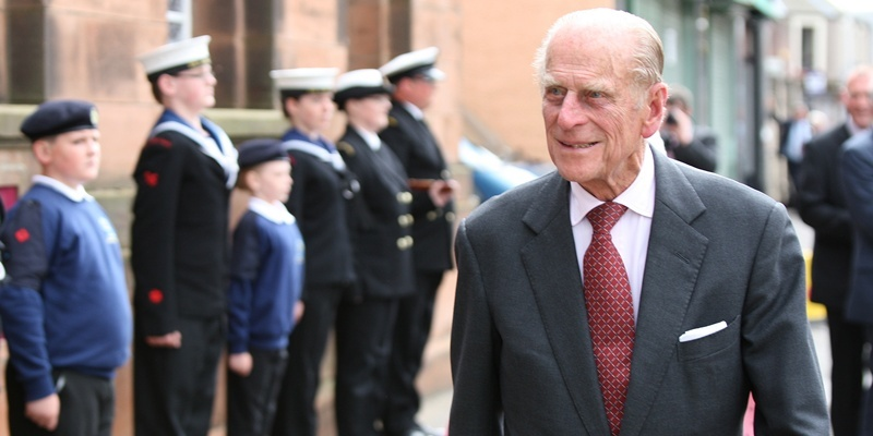 Kris Miller, Courier, 01/07/11. Picture today at Royal visit to Methil Heritage Centre. Prince Phillip visited the Heritage centre today, pic shows Prince Phillip arriving being greeted by local cadets.