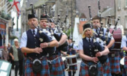 The pipe band on the way to last year's games.