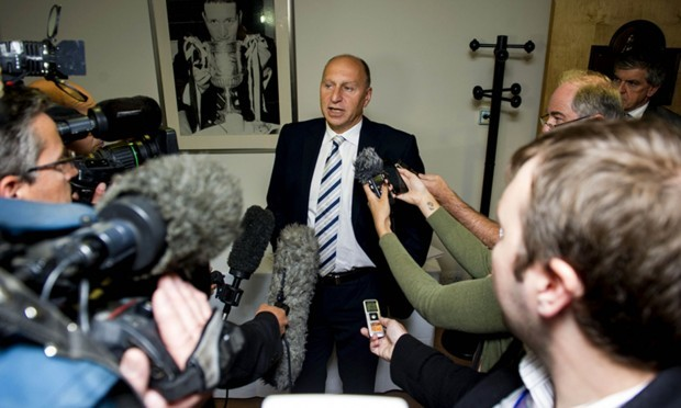 30/07/13 EAST END PARK - DUNFERMLINE Dunfermline administrator Bryan Jackson speaks to the press at East End Park after a day of meetings with the club's creditors.