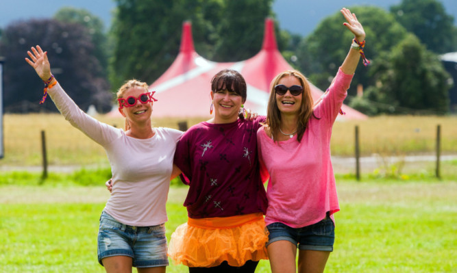 Campers Justine Maxwell, Yvonne Knox and Nicole Maxwell leave the Rewind site at Scone Palace after the weekends events.