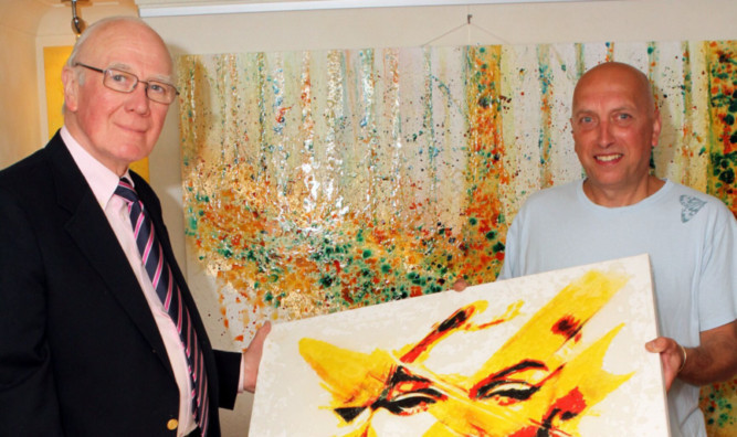 Sir Menzies Campbell with exhibiting artist Derek Collins.