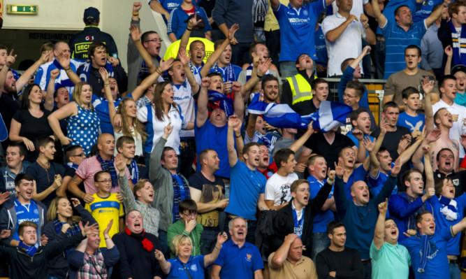25/07/13 EUROPA LEAGUE 2ND QUALIFYING RND 2ND LEG ST JOHNSTONE v ROSENBORG MCDIARMID PARK - PERTH St Johnstone fans