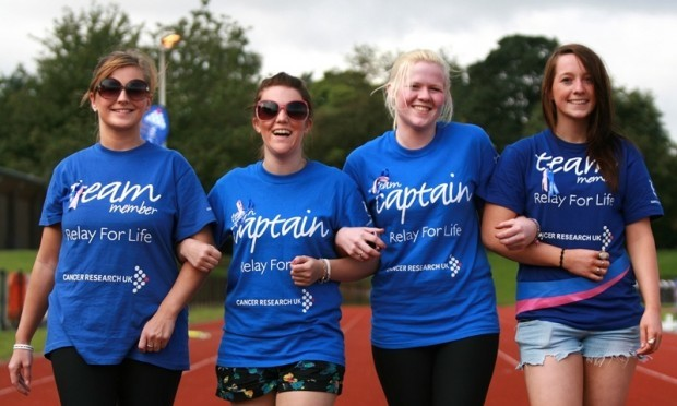 Kris Miller, Courier, 21/08/11. Picture today at Relay for Life, Caird Park, Dundee shows L/R, Kelly Owens, Kirsty Yeoman, Rachael Brown and Lana Warrender (Team Jazzlers) taking part in the relay.