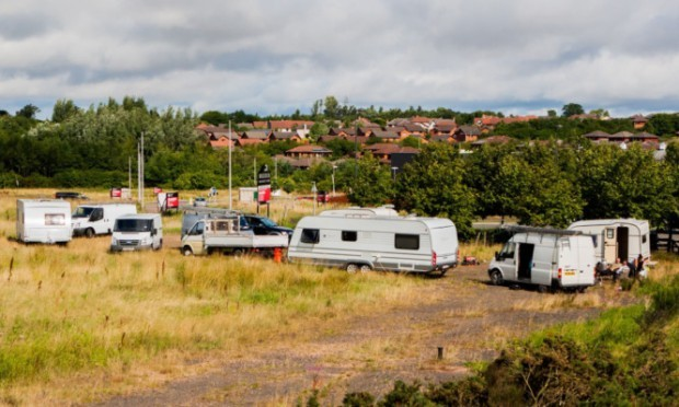 The latest encampment, as seen from the Broxden roundabout.