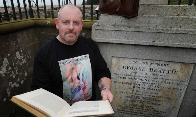 Arbroath man Barry Graham who has been researching the history of tragic poet George Beattie.