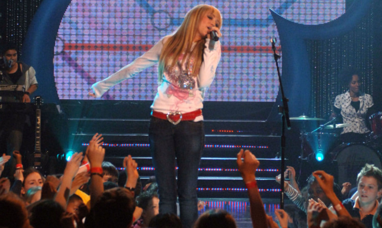 Miley Cyrus performs as Hannah Montana in 2007