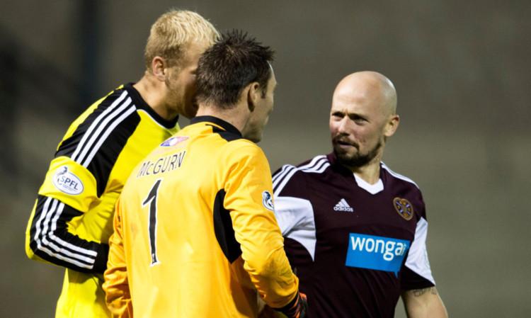 Jamie Hamill has a word with Raith keeper David McGurn after Tuesdays League Cup clash.
