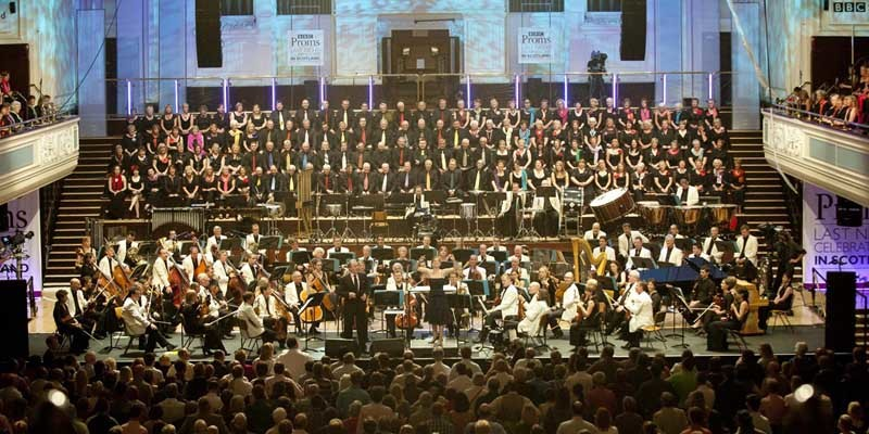 Photographs by Alan PeeblesBBC PROMS, last night celebrations in scotlandcoming from the Caird Hall DundeeNicola Benedetti and Lesley Garrett perform with the BBC Scottish Syphony Orchestra led by Scottish Conductor Garry WalkerFree use of pictures