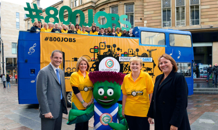 From left: David Grevemberg (COE Glasgow 2014), Simone Lockhart (Search Consultancys managing director, Scotland), Clyde the Games mascot, Jan Scott (head of HR Glasgow 2014) and Shona McKenzie, (recruitment director for Search Consultancy).