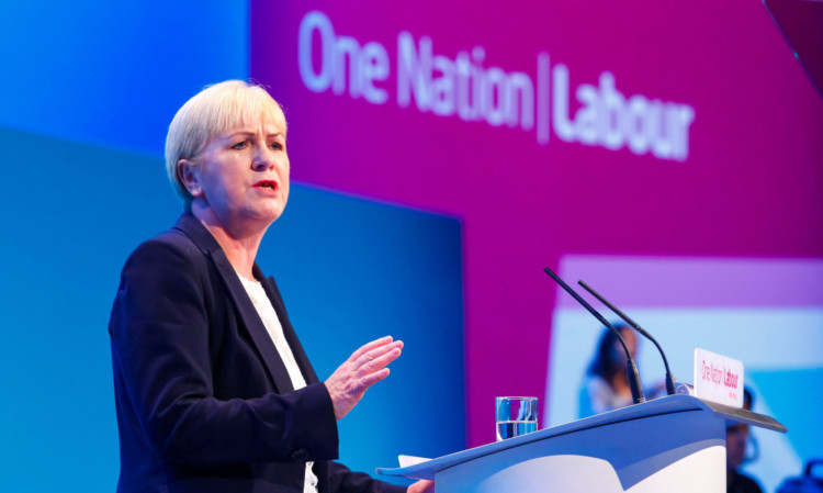 Scottish Labour Party leader Johann Lamont addresses the conference in Brighton.