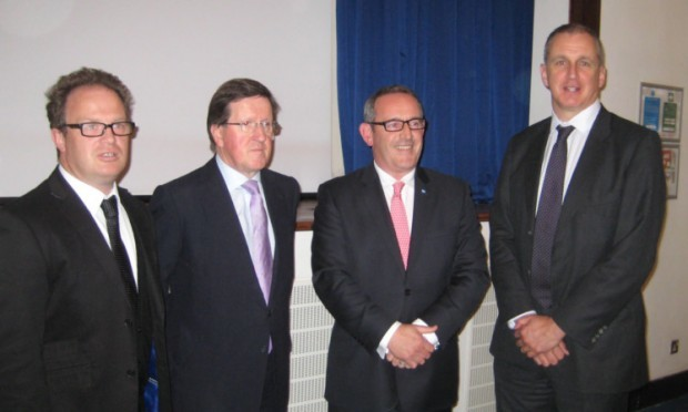 Dr Wallace McNeish, Lord Robertson, Stewart Hosie MP and Professor Nigel Seaton, principal of Abertay University, before the debate.