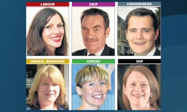 Clockwise from top left: Cara Hilton, Peter Adams, James Reekie, Shirley-Anne Somerville, Zara Kitson and Susan Leslie. No photograph of independent candidate John Black was available.