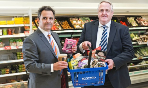 Fife Creamerys Steve Appolinari, left, with Scotmids bakery and local sourcing manager Stephen Brown.