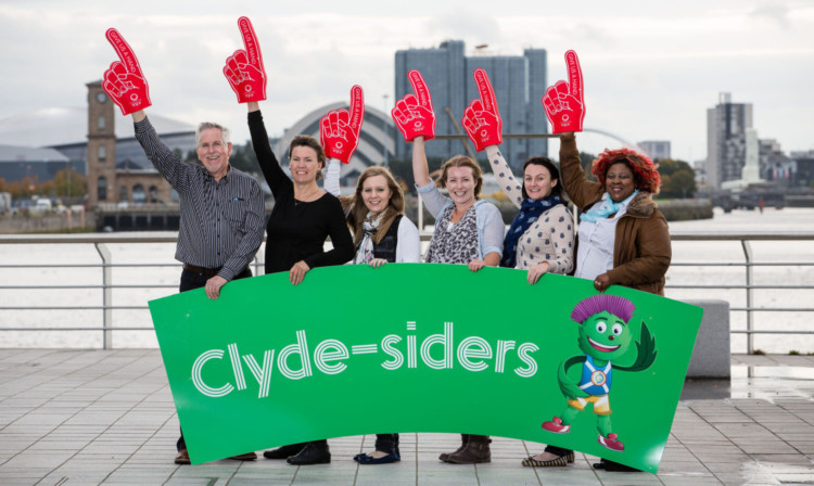 Commonwealth Games volunteers  from left: Lindsay Barr, Kate Hollands, Emma Blore, Katherine Spoors, Joanne Grant and Becky Gallagher  will be known as Clyde-siders.