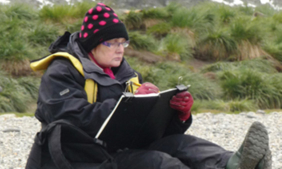 Libby sketching in South Georgia.