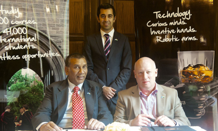 (From left) K Raghava Ram, Humza Yousaf MSP, and Stephen Forsyth